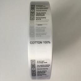 Этикетка атласная накатанная 25мм Cotton 100% (100 метров)