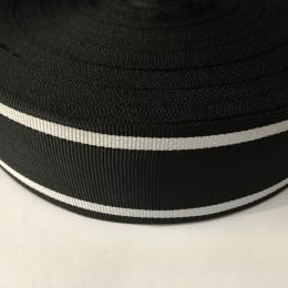 Тесьма репсовая производство 50мм черная 2п белые (50 метров)