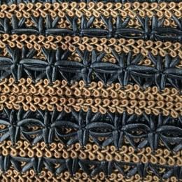 Тесьма декоративная 1399 3 см черно коричневая (метр )