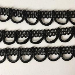 Тесьма декоративная петля 15мм черная (18 ярдов)