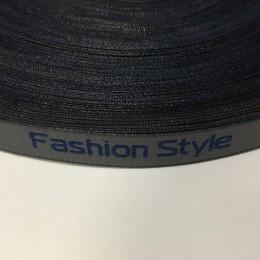 Этикетка жаккардовая вышитая лента Fashion Style 10мм серая синие буквы (100 метров)