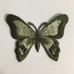 Вышивка апликация бабочка 7х5см хаки (Штука)