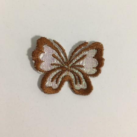 Вышивка апликация бабочка 4х3см коричневый (Штука)