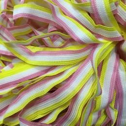 Тесьма окантовочная 12мм розовый желтый белый (50 метров)