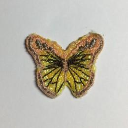 Вышивка апликация бабочка 4х3см желто-ченый (Штука)