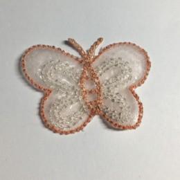 Вышивка апликация бабочка 4х3см персиковый прозрачный (Штука)