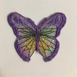Вышивка апликация бабочка 4х3см фиолетовый  (Штука)