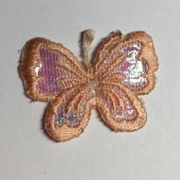 Вышивка апликация бабочка 4х3см персиковый (Штука)