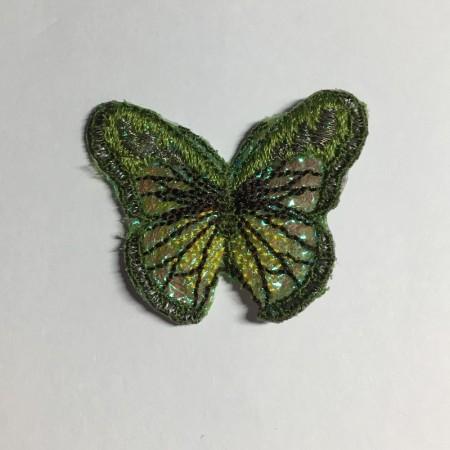 Вышивка апликация бабочка 4х3см зеленый (Штука)