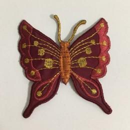 Вышивка апликация бабочка 7х7см бордовый (Штука)