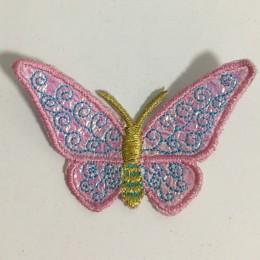 Вышивка апликация бабочка 7х5см розовый (Штука)