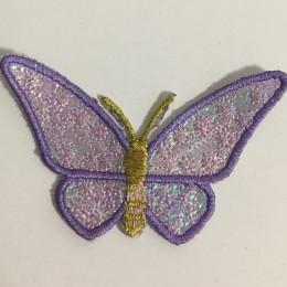 Вышивка апликация бабочка 7х5см фиолетовый (Штука)