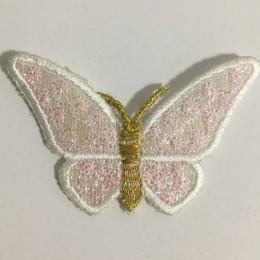 Вышивка апликация бабочка 7х5см белый (Штука)