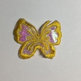 Вышивка апликация бабочка 4х3см желтый (Штука)