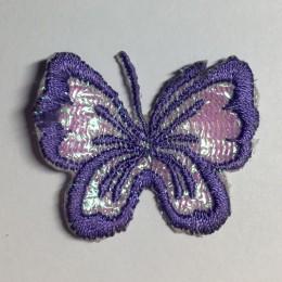 Вышивка апликация бабочка 4х3см сиреневый (Штука)