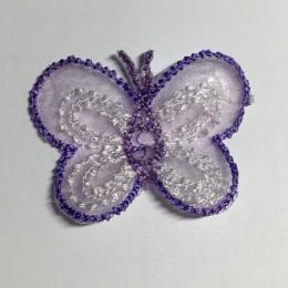 Вышивка апликация бабочка 4х3см сиреневый прозрачный (Штука)