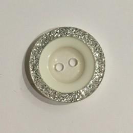 Пуговица пришивная 3593 белая с серебром 36 (23мм) (Штука)