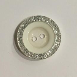 Пуговица пришивная 3593 белая с серебром 44 (28мм) (Штука)