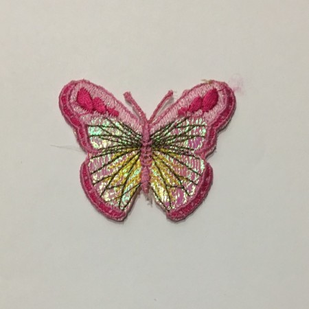 Вышивка апликация бабочка 6х5см розовый 1 (Штука)
