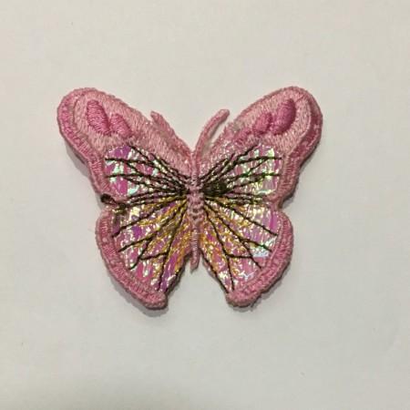 Вышивка апликация бабочка 6х5см розовый 2 (Штука)