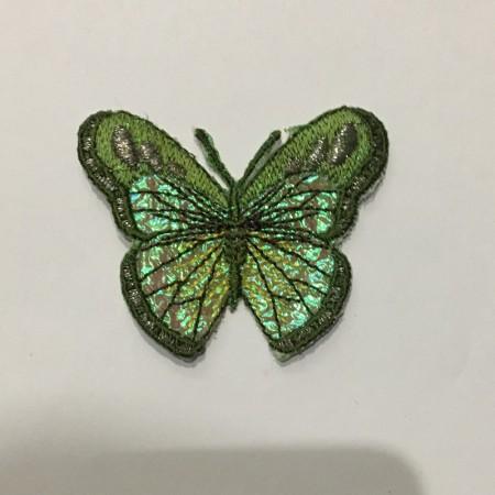 Вышивка апликация бабочка 6х5см зеленый (Штука)