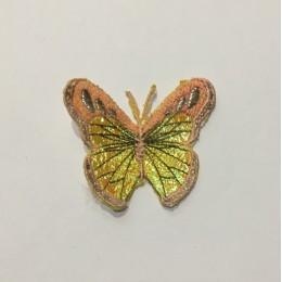 Вышивка апликация бабочка 6х5см персик (Штука)