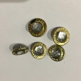 Кнопка металлическая 15мм золото камень верх (Штука)