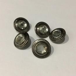 Кнопка металлическая 15мм темный никель камень верх (Штука)