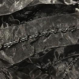 Тесьма декоративная 4см стеклярус черная (20 метров)