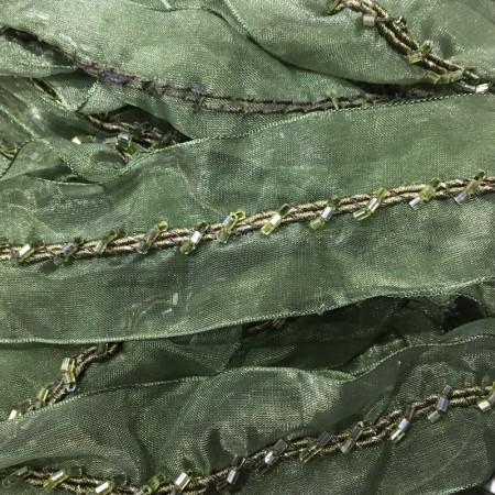 Тесьма декоративная 4см стеклярус зеленая (20 метров)
