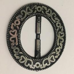 Пряжка пластиковая декоративная черная овал серебрянный узор 5,5 см (Штука)