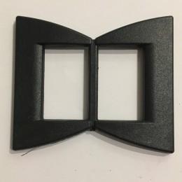 Пряжка пластиковая декоративная черная бант острый 4см (Штука)