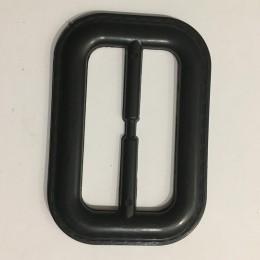 Пряжка пластиковая декоративная черная прямоугольник закругленный шов 6,5см (Штука)