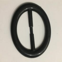 Пряжка пластиковая декоративная черная овал большой гладкий 6,8см  (Штука)