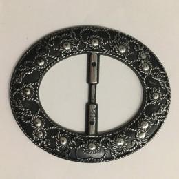 Пряжка пластиковая декоративная черная овал большой узор серебро 4,8см  (Штука)