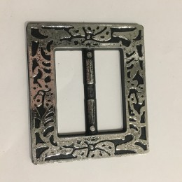 Пряжка пластиковая декоративная квадрат темный  никель ХХL  7см (Штука)