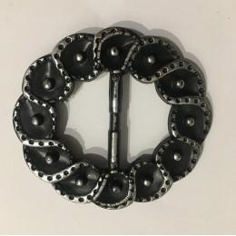 Пряжка пластиковая декоративная узор завиток серебро 4,5см (Штука)
