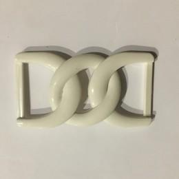 Пряжка пластиковая декоративная белая двойная маленькая 3 см (Штука)