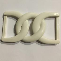 Пряжка пластиковая декоративная белая двойная большая 4см (Штука)