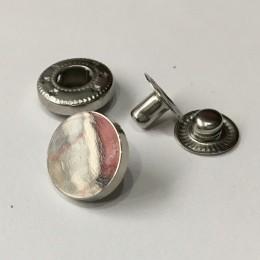 Кнопка металлическая плоская нержавейка 12мм никель (1000 штук)