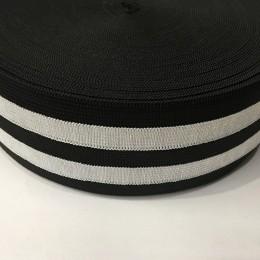 Резинка 60мм черный 2 белых полосы (25 метров)