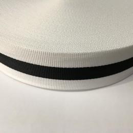 Тесьма репсовая производство 40мм белая 1п черная (50 метров)