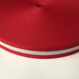 Тесьма репсовая производство 20мм красный 1п белая (50 метров)