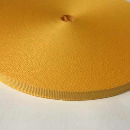 Тесьма репсовая производство 10мм желтая (50 метров)