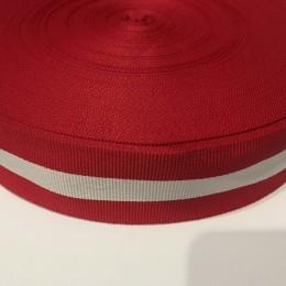 Тесьма репсовая производство 40мм красная 1п белая (50 метров)