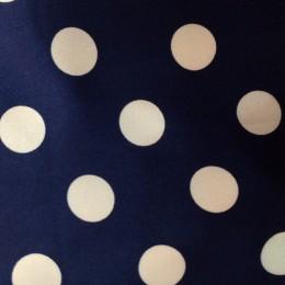 Ткань атлас стрейч горох синий с белым (20мм) (метр )