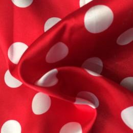 Ткань атлас стрейч горох красный с белым (20мм) (метр )