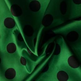 Ткань атлас стрейч горох зеленый с черным (20мм) (метр )