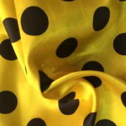 Ткань атлас стрейч горох желтый с черным (20мм) (метр )