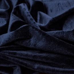 Ткань бархат стрейч темно-синий (метр )